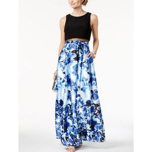 Betsy & Adam Floral Print Sleeveless Evening Gown